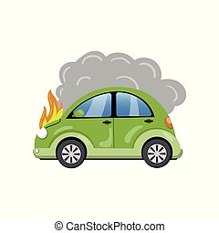 Burning car, auto fire breakdown cartoon vector Illustration