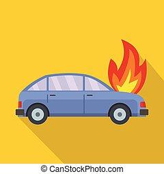 Burning car icon, flat style