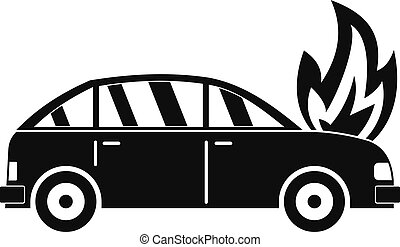 Burning car icon, simple style