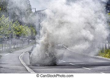 Burning Car on the street