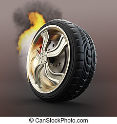 Burning car wheel over dark red background. 3d render