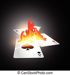 burning card - burning casino playing cards. Vector...