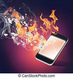 Burning cellphone - Conceptual image with mobile phone...