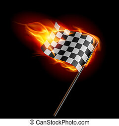 Burning checkered racing flag - Illustration of the burning...
