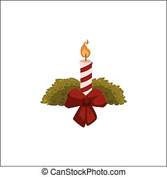 Burning Christmas candle with red ribbon bow