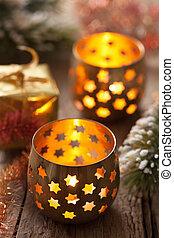 burning christmas lanterns