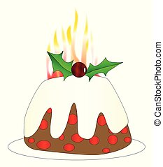 Burning Christmas Pudding - A Chistmas pudding with brandy...