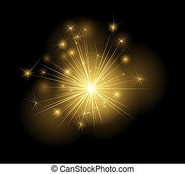 Burning christmas sparkler - abstract Christmassy background