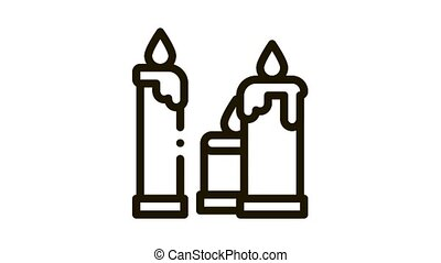 burning church candles Icon Animation. black burning church candles animated icon on white background