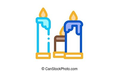 burning church candles Icon Animation