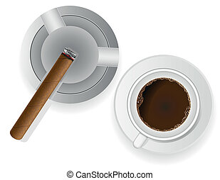 burning cigar in ashtray and coffee - burning cigar in an...