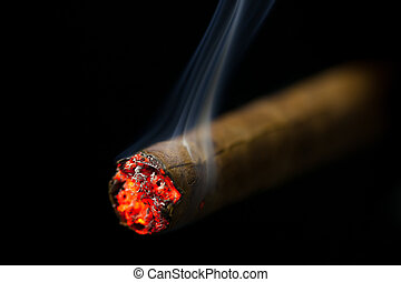 burning cigar on black background