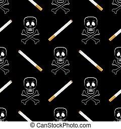 Burning Cigarette and Skull Seamless Pattern