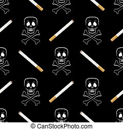 Burning Cigarette and Skull Seamless Pattern