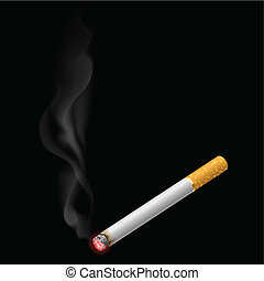 Burning cigarette. Illustration on black background for...