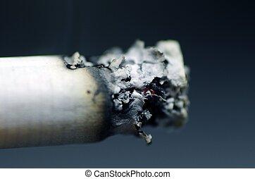 Burning Cigarette Macro Shot. Cigarette Ash. Burning...