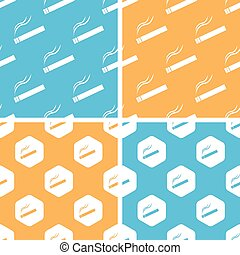 Burning cigarette pattern set, colored