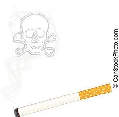 Burning cigarette   skull in smoke