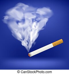 Burning Cigarette. Transparent Smoke
