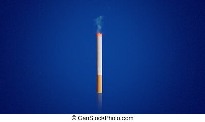 Burning cigarette with orange filter and light smoke pillar rising up on dark blue background computer generated imagery