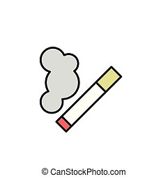 Burning cigarette with smoke. Cartoon design icon. Flat vector illustration. Isolated on white background.