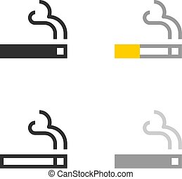Burning cigarette with smoke