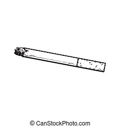 Burning cigarette with yellow filter, side view, sketch...