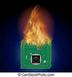 Burning Circuit Board Pattern. High Tech Symbol