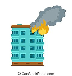 Burning city building icon, flat style