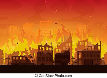 Burning city ruins in fire, destroyed town houses