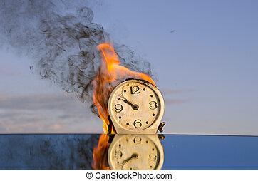 burning clock dial - time symbol