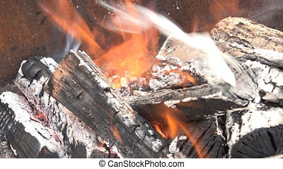 Burning Coal. Close up of Red Hot Coals Glowed in the Stove