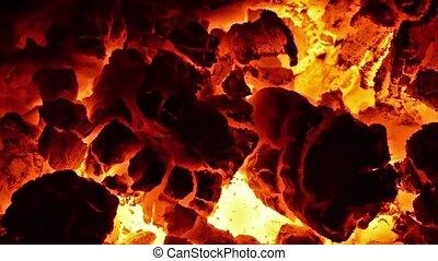 Burning coal in the stove. Full HD.