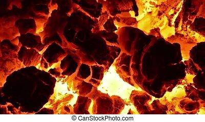 Burning coal in the stove. Full HD,