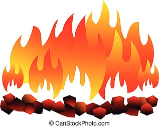 Burning coal isolated. hot Coal on white background vector eps 10