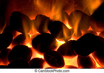 Close up view of red hot burning coals