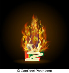 Burning Colored Books with Fire Flame