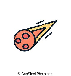 burning comet astronomy and space on white background vector illustration