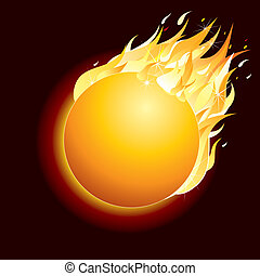 Burning Comet on Dark Background. Vector Illustration.