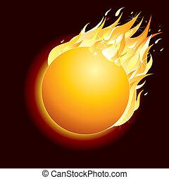 Burning Comet on Dark Background. Vector Illustration.