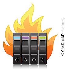 burning computer server