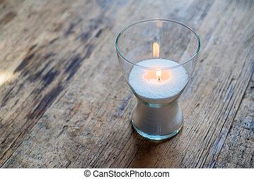 Burning decorative candle