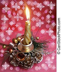 Burning decorative candle on a beautiful background