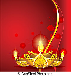illustration of burning diwali diya on abstract background