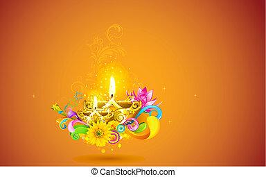 Burning Diwali Diya - illustration of burning diwali diya on...