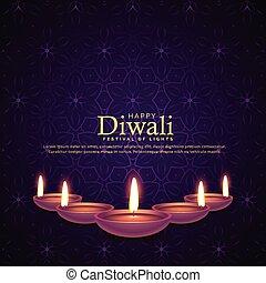 burning diya illustration for diwali festival celebration