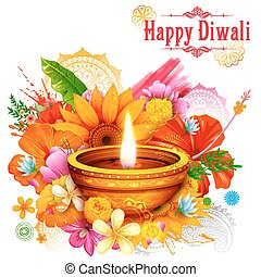 Burning diya on Happy Diwali Holiday background for light festival of India