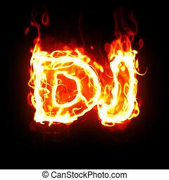 burning dj word - dj word on fire