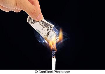 Burning Dollar Banknotes