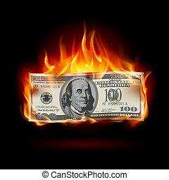 Burning dollar on a black background for design